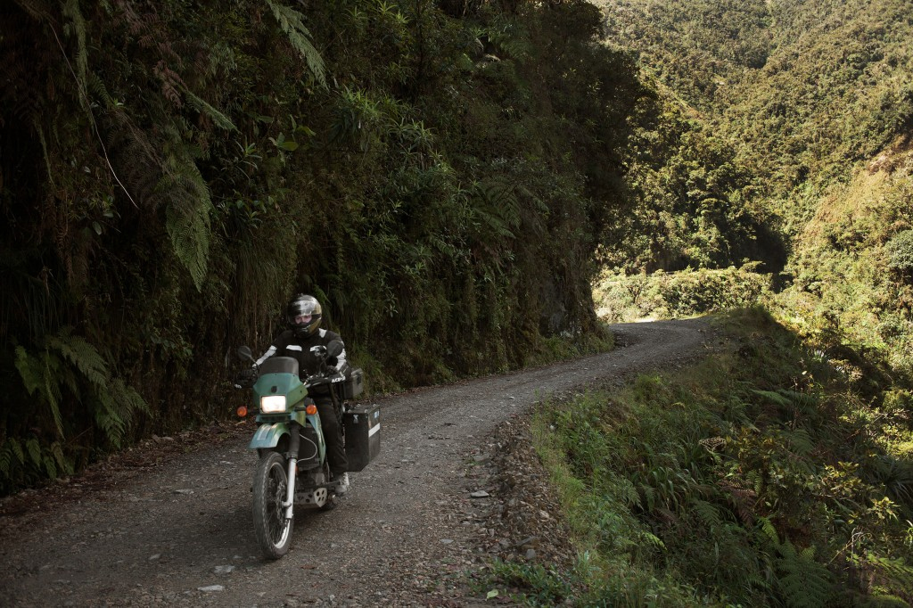 Tackling the Bolivian Death Road wearing the CR4 boot from Alpinestars.