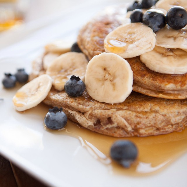 The yummiest protein packed pancakes we've ever had are now on the blog! #nomnom #pancakes #protein #breakfast #fuel #blueberries #thanksgiving